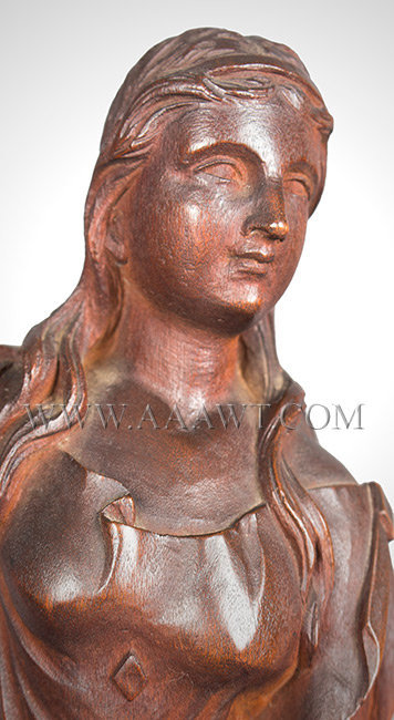 Antique Carved Figure of Woman, Unknown Carver, 18th or 19th Century, head detail