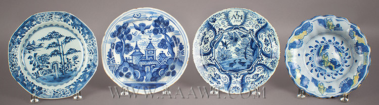 Delft, Plates, Dishes, Blue and White Decoration, entire view