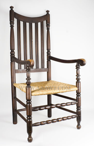 William and Mary Banister Back Armchair Generous Proportions, Robust Turnings New York or Connecticut Circa 1740 to 1760, entire view