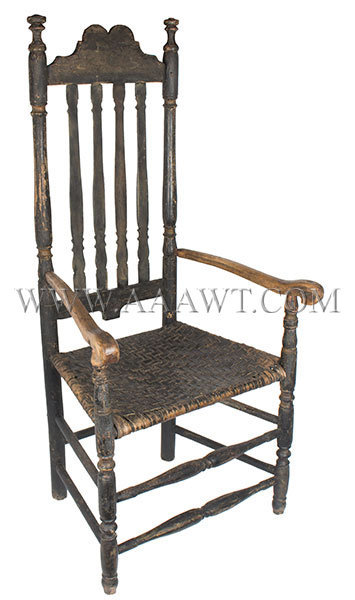 Banister Back Armchair, Shaped Crest, Carved Arms, Crusty Painted Surface New England, found in Connecticut Circa 1730, entire view