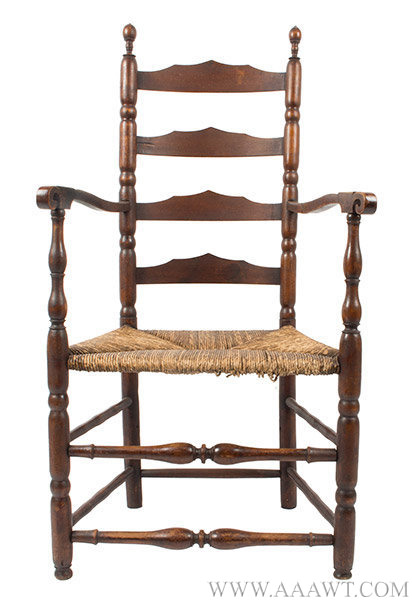 Armchair, Ladder Back, Shaped Splats, Robust Turning New England, 18th  Century A large chair displaying a lively turning vocabulary and rich color - Antique Furniture_Chairs, Early, Country, Pilgrim, American