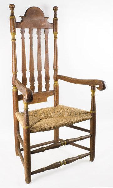 Bannister Back Armchair, Great Surface, Tall Shaped Crest Probably Southeastern New England 18th Century, angle view