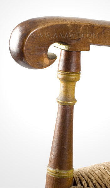 Bannister Back Armchair, Great Surface, Tall Shaped Crest Probably Southeastern New England 18th Century, armrest detail