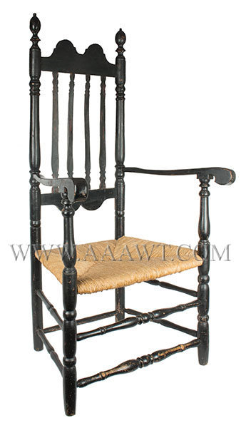 Chair, Bannister Back Armchair, Double Tombstone Top Rail, 18th Century New England, entire view
