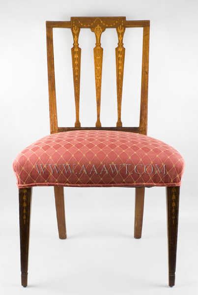 Chair, Side Chair, Square Back, Tablet Crest, Inlayed with Festoons of Bellflower New York, Circa 1790 to 1805, entire view