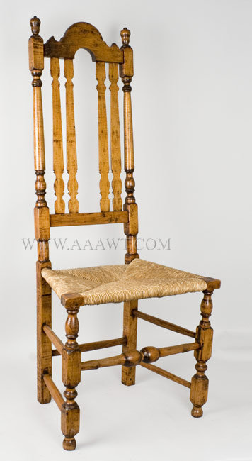William and Mary Banister Back Side Chair Chelmsford, Massachusetts 18th Century, entire view