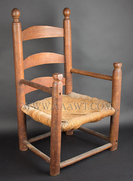 Childu0027s Ladder Back Armchair, Slat Back Original Surface History New  England, 18th Century Maple And Ash. Used As Babyu0027s Training Walker, Worn  And Flattened ...