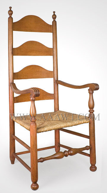 Armchair, Carved Handholds, Four Arched Slats, Ball Feet, Salmon