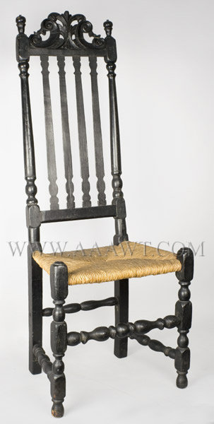 Chair, Side Chair, William and Mary, Banister Back, Carved, Prince of Wales Eastern Massachusetts Circa 1690 to 1725, entire view