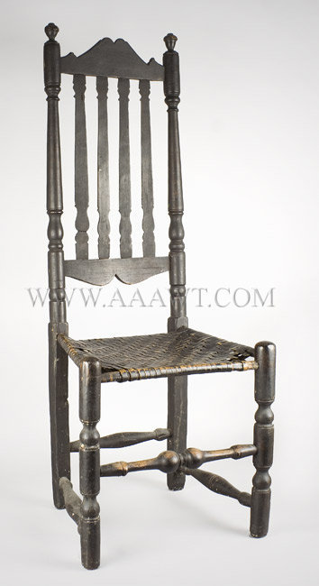 Banister Back Side Chair, Original Seat, Old Black Paint New England, Probably New Hampshire Early 18th Century, entire view