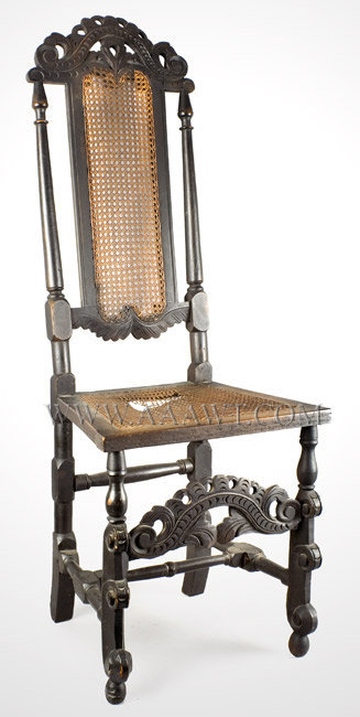 Jacobean Side Chair, Carved, Cane Back and Seat England Late 17th Century, entire view