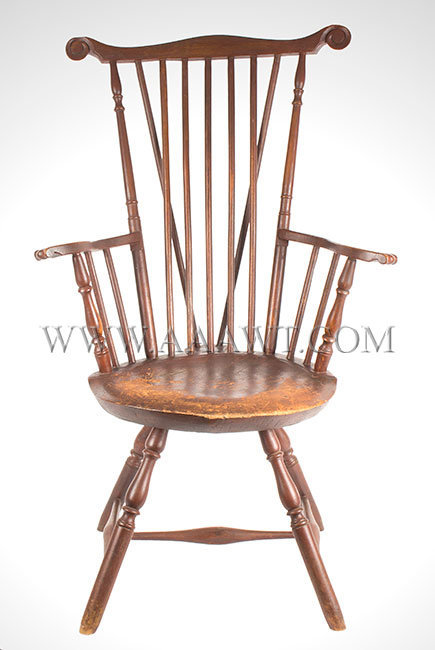 Antique Windsor Fan Back Armchair, Porbably Nantucket, Circa 1775, entire  view - Antique Furniture_Chairs, Early, Country, American