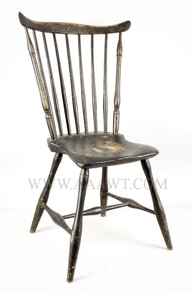 Fan Back Windsor Side Chair, Old Black Paint Rhode Island Circa 1795, entire view