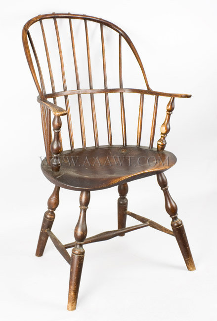 Windsor Sack Back Armchair, Good Form and Color, Comfortable Massachusetts or Connecticut Circa 1780 to 1790, entire view