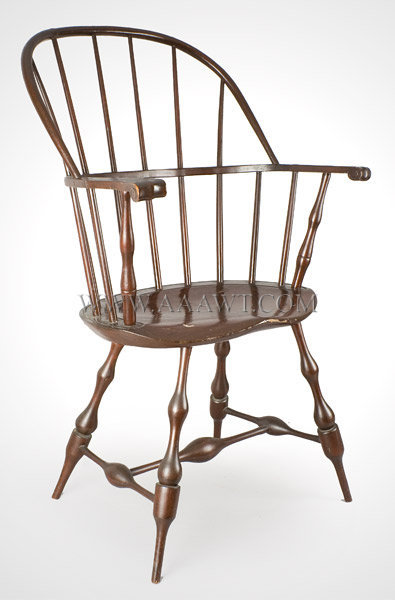 Sack Back Windsor Armchair, Carved Knuckle Handholds, Old Red Surface
