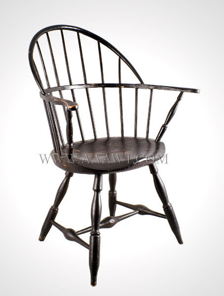 Windsor, Sack Back Armchair, Old Black Paint