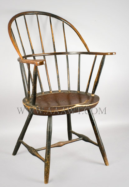 Windsor Bow Back, Sack Back Armchair, Old Painted Surface New England Circa 1800 to 1810, entire view