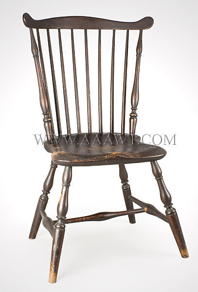 Windsor Side Chair, Fan Back, Old Dry Reddish Brown Surface Attributed to James Chapman Tuttle Salem, Massachusetts Circa 1795 to 1802, entire view