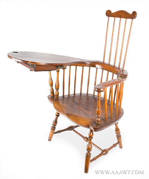 Chair, Comb Back Windsor, Writing Arm, Branded, E.B. Tracy Lisbon,  Connecticut, Circa 1780 to 1800. Rarely found intact, retains original  drawer - SOLD - Antique Furniture_Chairs, Early, Pilgrim, American