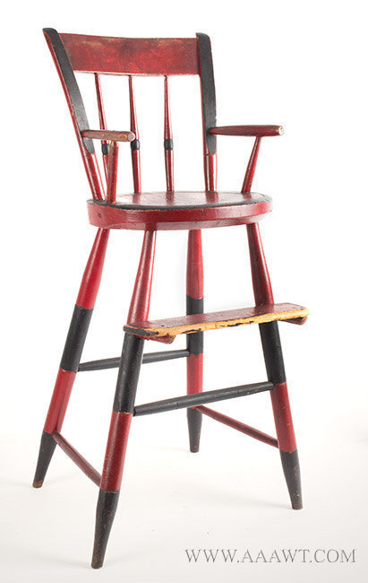 Chair, Youth's High Chair, Old Red and Black Paint, Original Foot Rest New  England, 19th Century - Antique Furniture_Childs Furniture, Miniature Furniture
