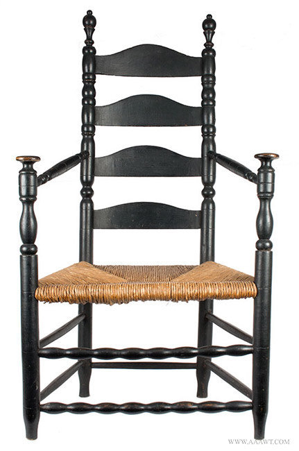 Antique Turned Great Chair with Mushroom Cap Handholds, Circa 1750, entire view
