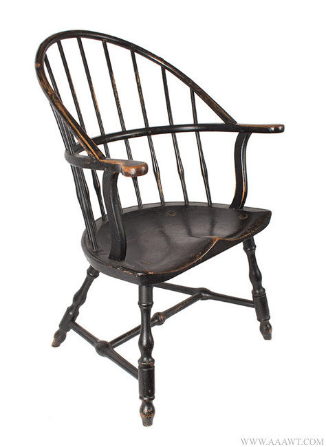 Antique Rhode Island Sack Back Windsor Arm Chair, Circa 1780 to 1785, angle view