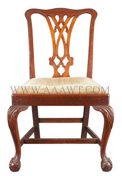 Chippendale Side Chair, Claw and Ball Foot, Carved, Walnut 18th Century, entire view