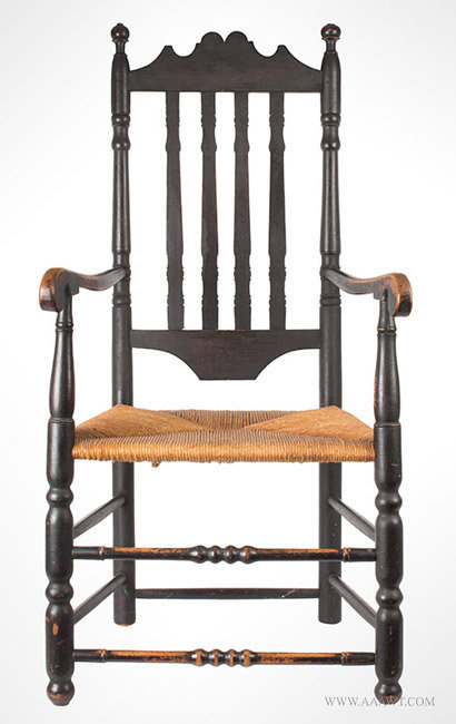 Antique William and Mary Banister Back Armchair in Old Black Paint, Circa 1760, entire view