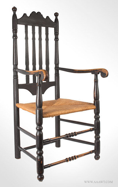 Antique William and Mary Banister Back Armchair in Old Black Paint, Circa 1760, angle view