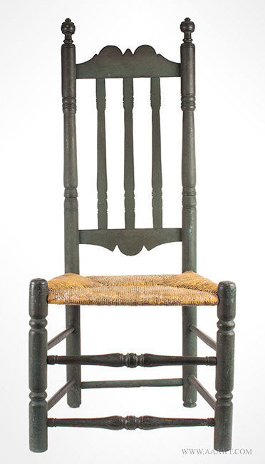 Antique Banister Back Side Chair in Green Paint with Great Patina, Mid 18th Century, entire view