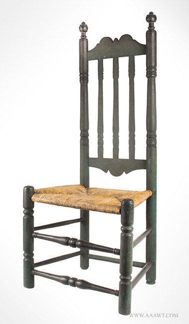 Antique Banister Back Side Chair in Green Paint with Great Patina, Mid 18th Century, angle view 1