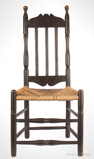 Antique Banister Back Chair in Old Black Paint, New England, 18th Century, entire view