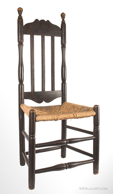 Antique Banister Back Chair in Old Black Paint, New England, 18th Century, angle view