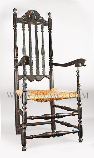Banister Back Armchair, William and Mary, Deeply Carved Crest Rail Probably New Bedford, Massachusetts Circa 1750, entire view