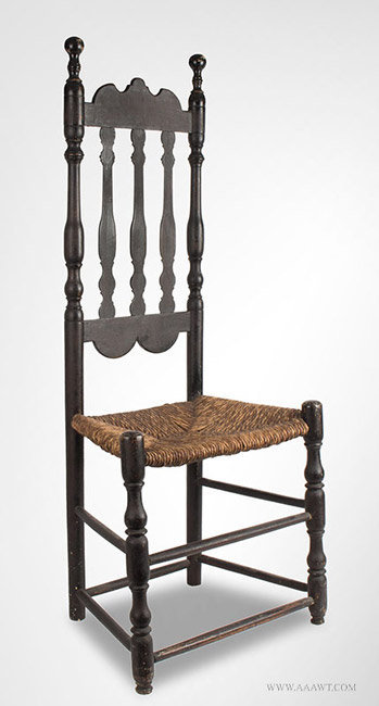 Antique Bannister Back Side Chair with Robust Turnings, 18th Century, angle view