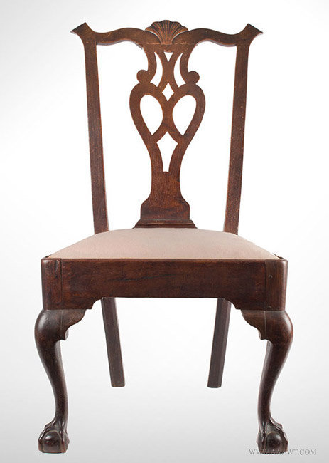 antique side chair with pierced splat and cabriole legs circa