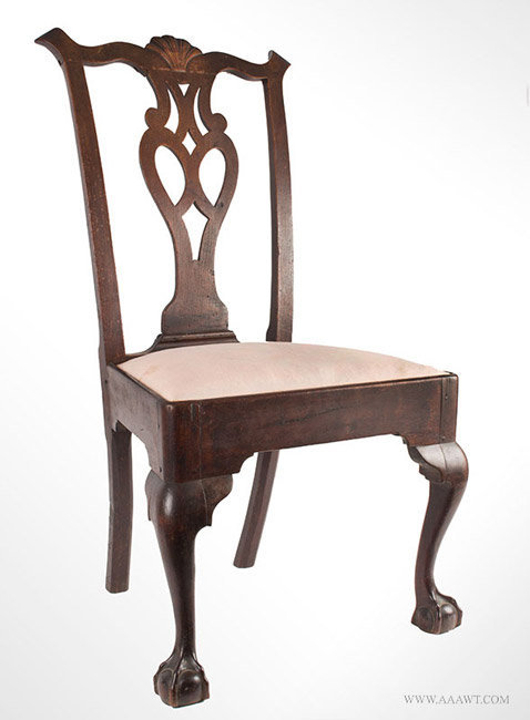 Antique Chippdendale Side Chair with Pierced Splat and Cabriole Legs, Pennsylvania, Circa 1760, angle view