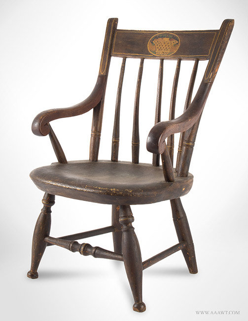 Antique Childs Paint Decorated Windsor Armchair, Early 19th Century, angle view