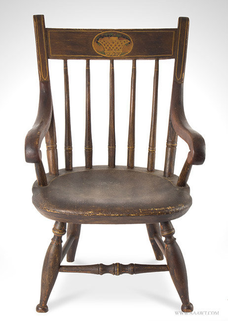 Antique Childs Paint Decorated Windsor Armchair, Early 19th Century, entire  view - Antique Furniture_Childs Furniture, Miniature Furniture