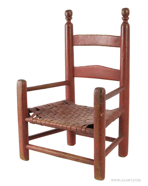Antique Child's Ladderback Armchair in Old Red Paint, New England, Early  19th Century, - Antique Furniture_Childs Furniture, Miniature Furniture