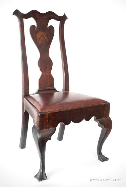 Antique Chippendale Side Chair with Vasiform Splat and Trifid Feet in Original Surface, Circa 1750 to 1780, angle view