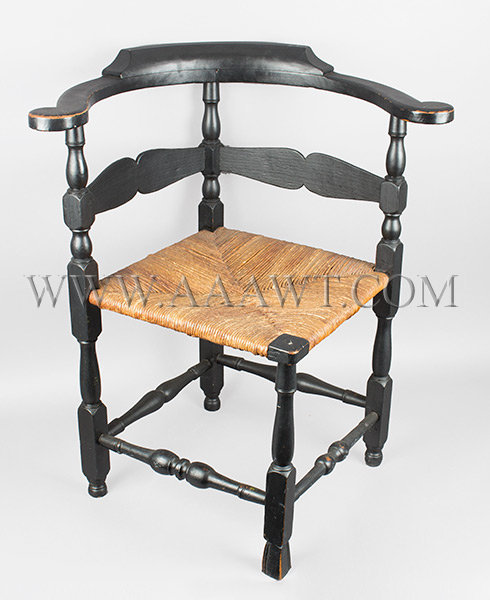 Corner Chair, Roundabout, Old Black paint, Spanish Foot, Old Black Paint New England 18th Century, entire view