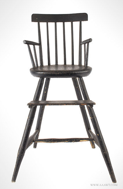 Antique Rod Back Windsor Highchair in Old Black Paint, Circa 1820, entire view