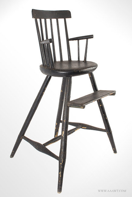 Antique Rod Back Windsor Highchair in Old Black Paint, Circa 1820, angle view