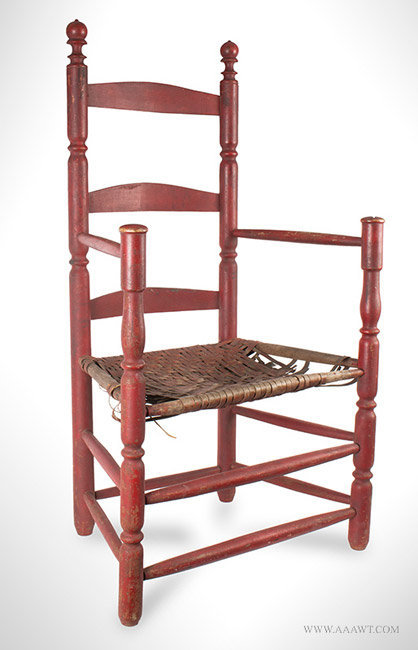 Antique Turned Slat Back Armchair in Great Old Red Paint, 18th Century, angle view