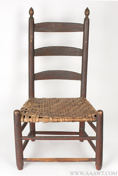 Antique Youth's Size Ladder Back Side Chair, New England, Circa 1800, entire view