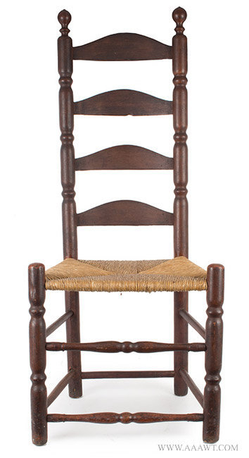 Antique Ladderback Side Chair with Robust Turnings  Early 18th Century   entire view. Antique Furniture Chairs  Early  Country  Pilgrim  American