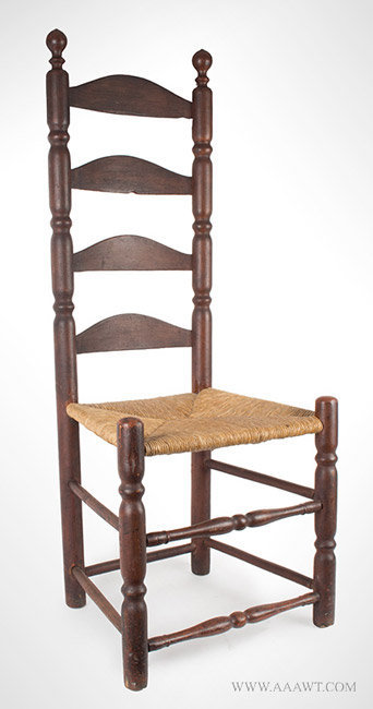 Antique Ladderback Side Chair With Robust Turnings, Early 18th Century,  Angle View