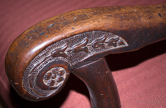 Antique Louis XIV Carved Walnut Armchair, French, 18th Century, arm detail