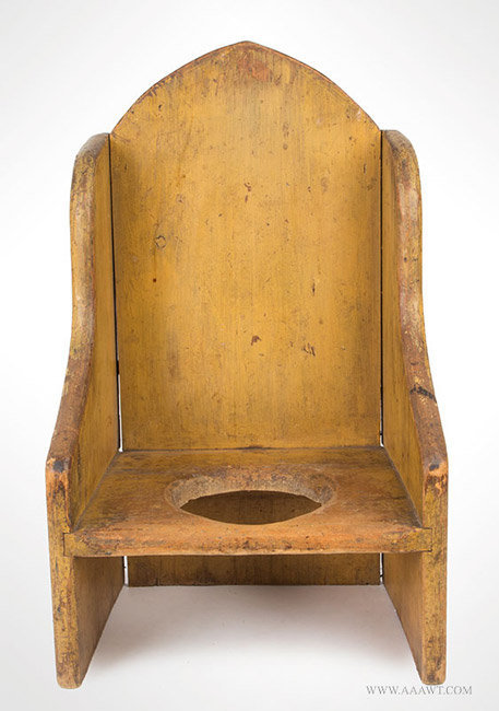 Antique Childs Arched Wingback Necessary Chair/Potty Chair, 19th Century,  entire view - Antique Furniture_Childs Furniture, Miniature Furniture